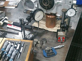 Machining tools on a workbench